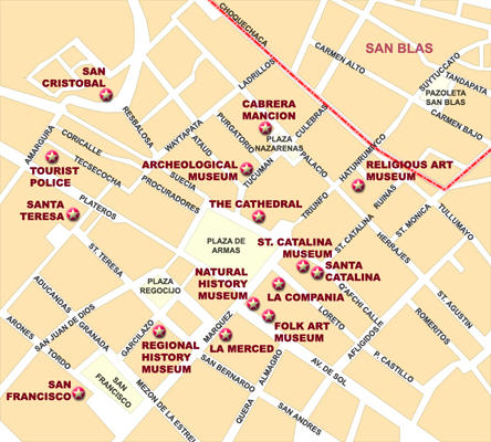 Map of the centre of Cusco Cuzco Peru